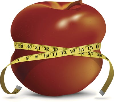 Apple with Skinny Waistline and Tape Measure