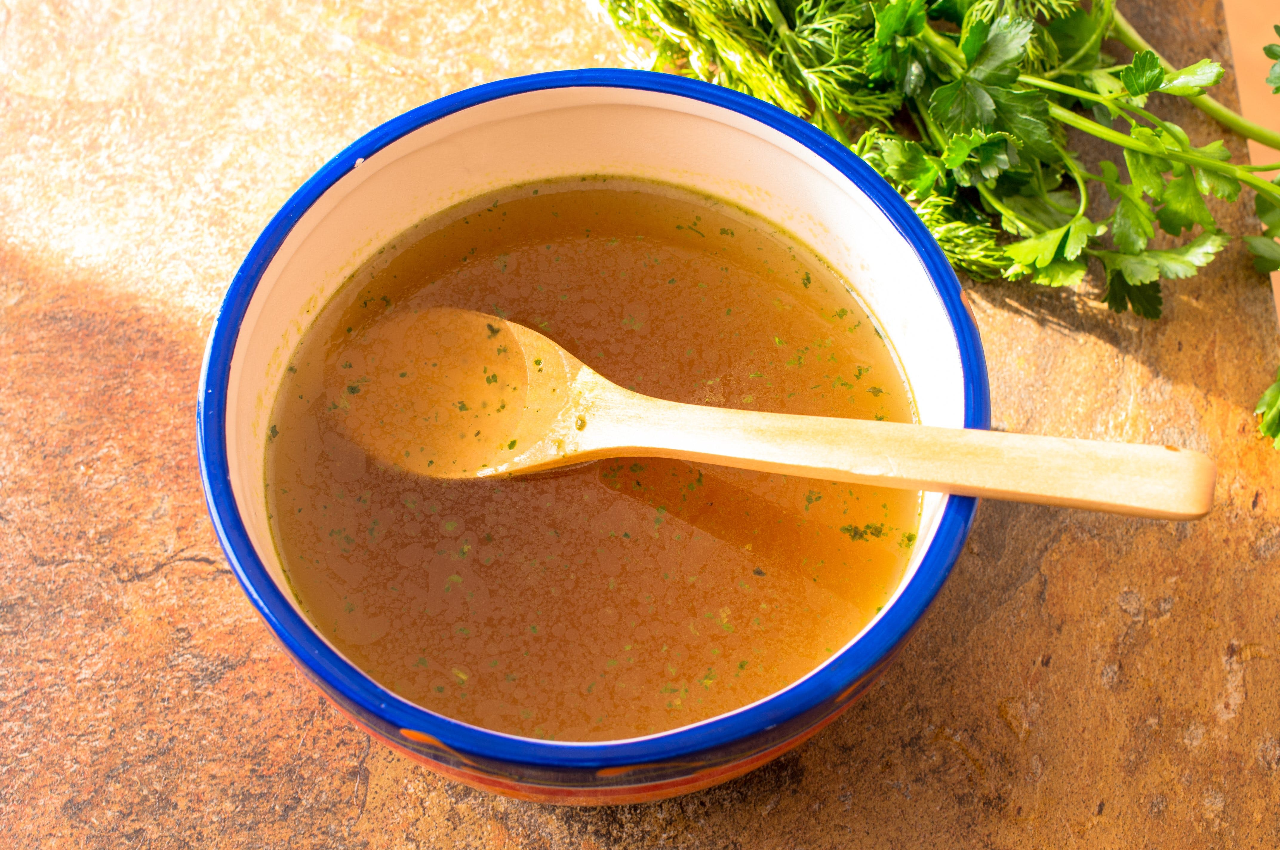 Beef broth with herbs