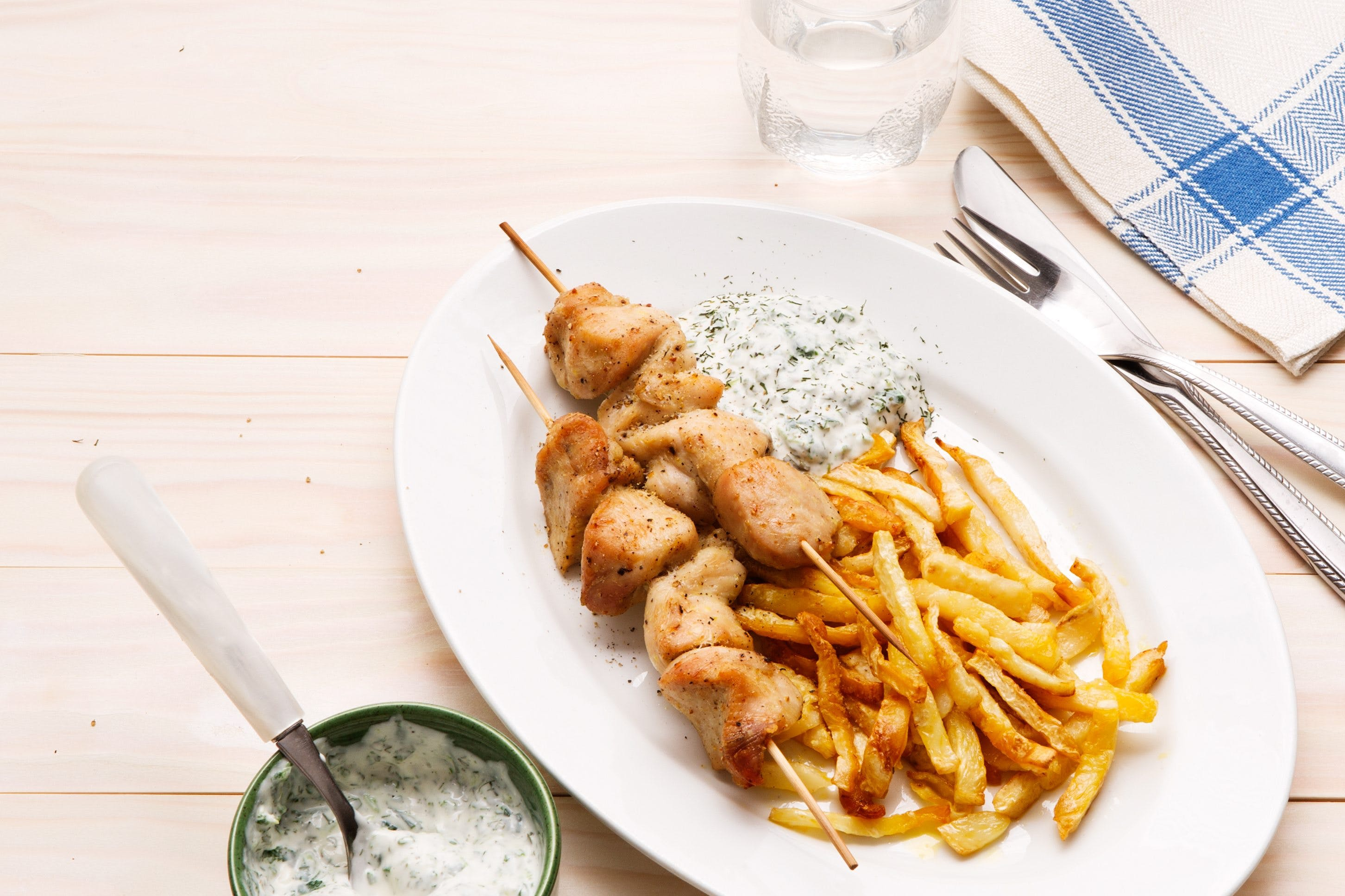 Chicken Skewers with Root Celery Fries and Spinach Dip