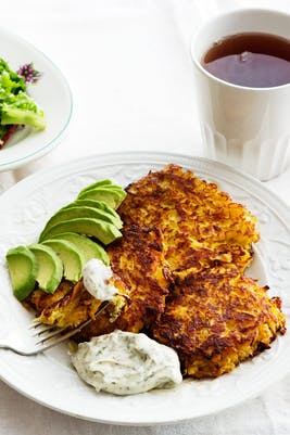 Low-carb rutabaga fritters with avocado<br />(Lunch)