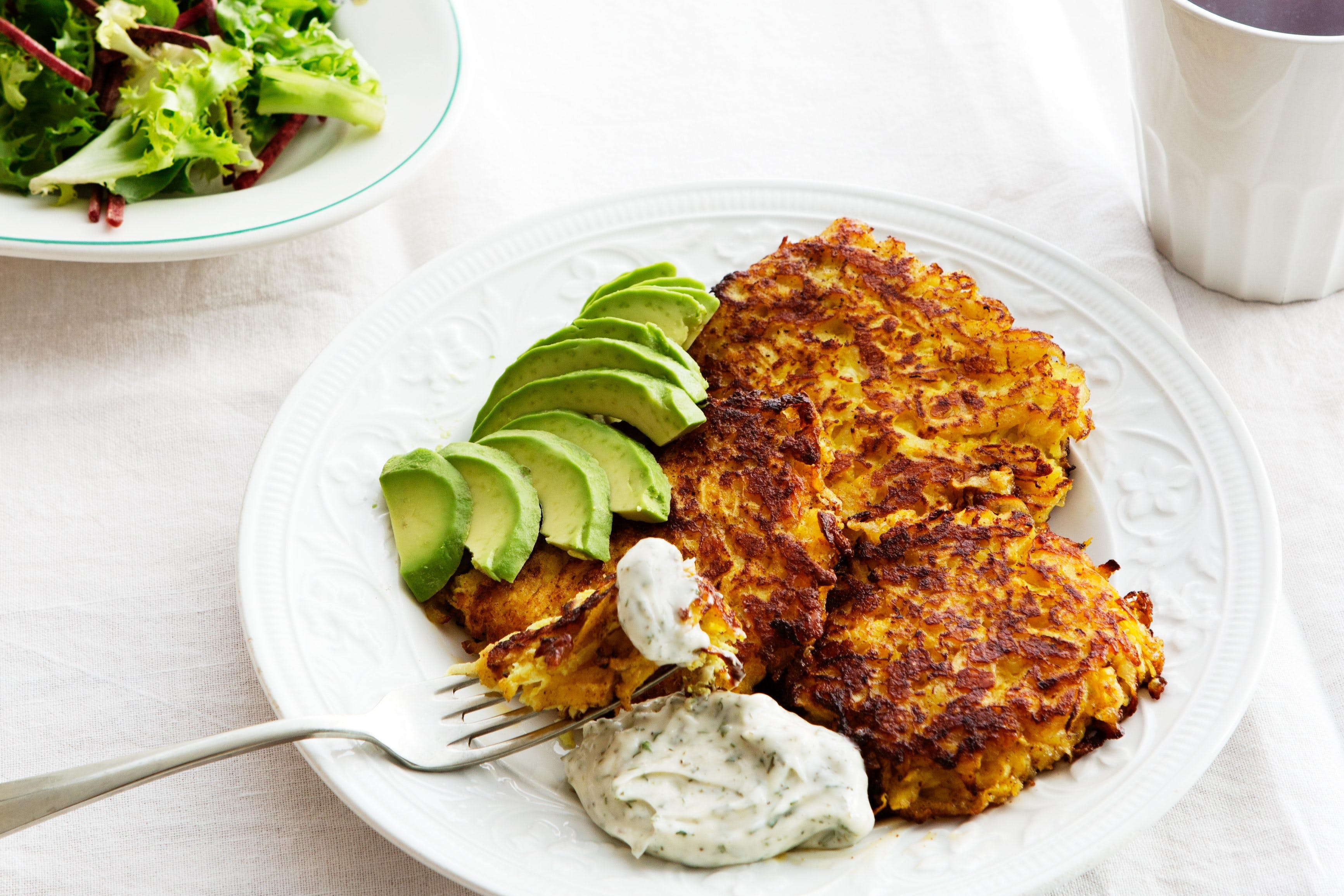 Low-carb rutabaga fritters with avocado