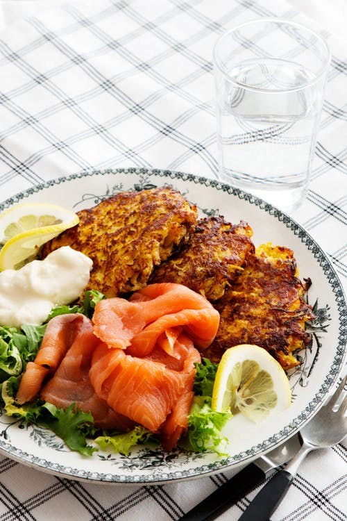 Rutabaga fritters with smoked salmon