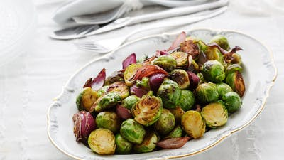 Brussels sprouts with caramelized red onions
