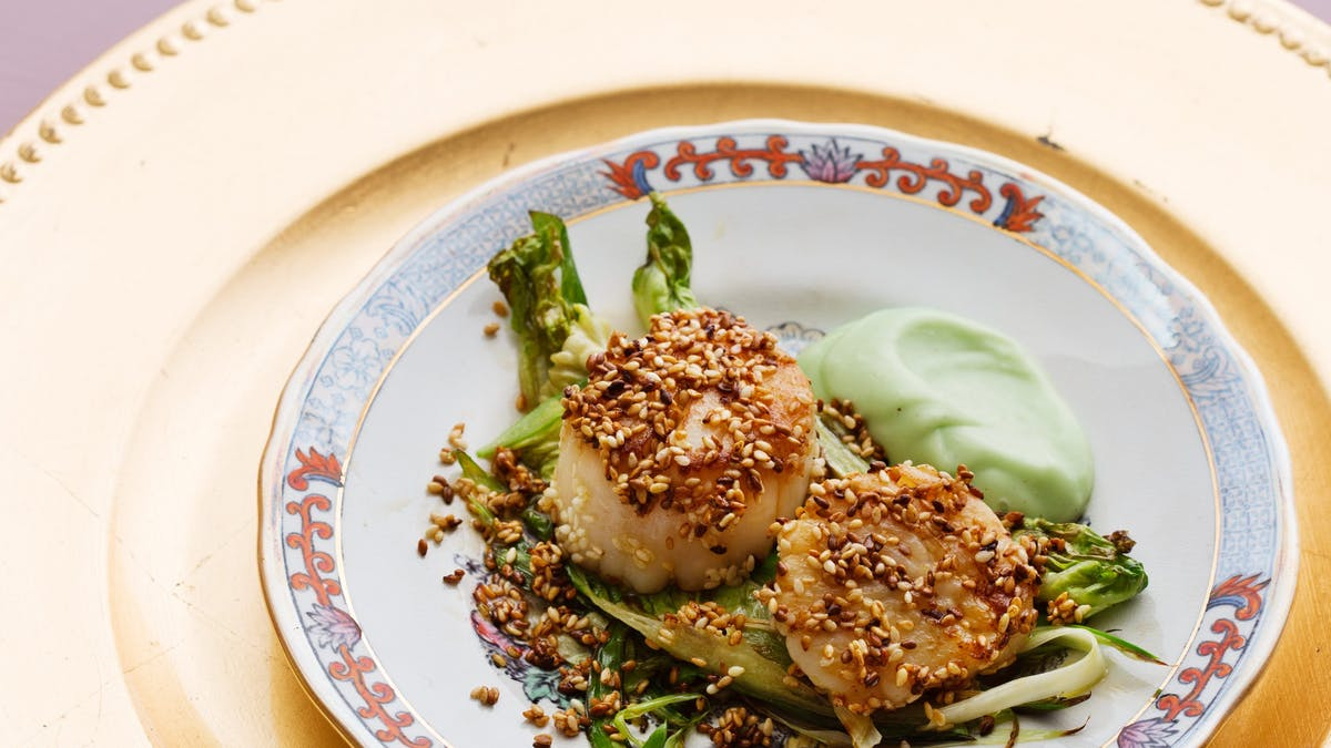 Sesame roasted scallops with wasabi mayonnaise