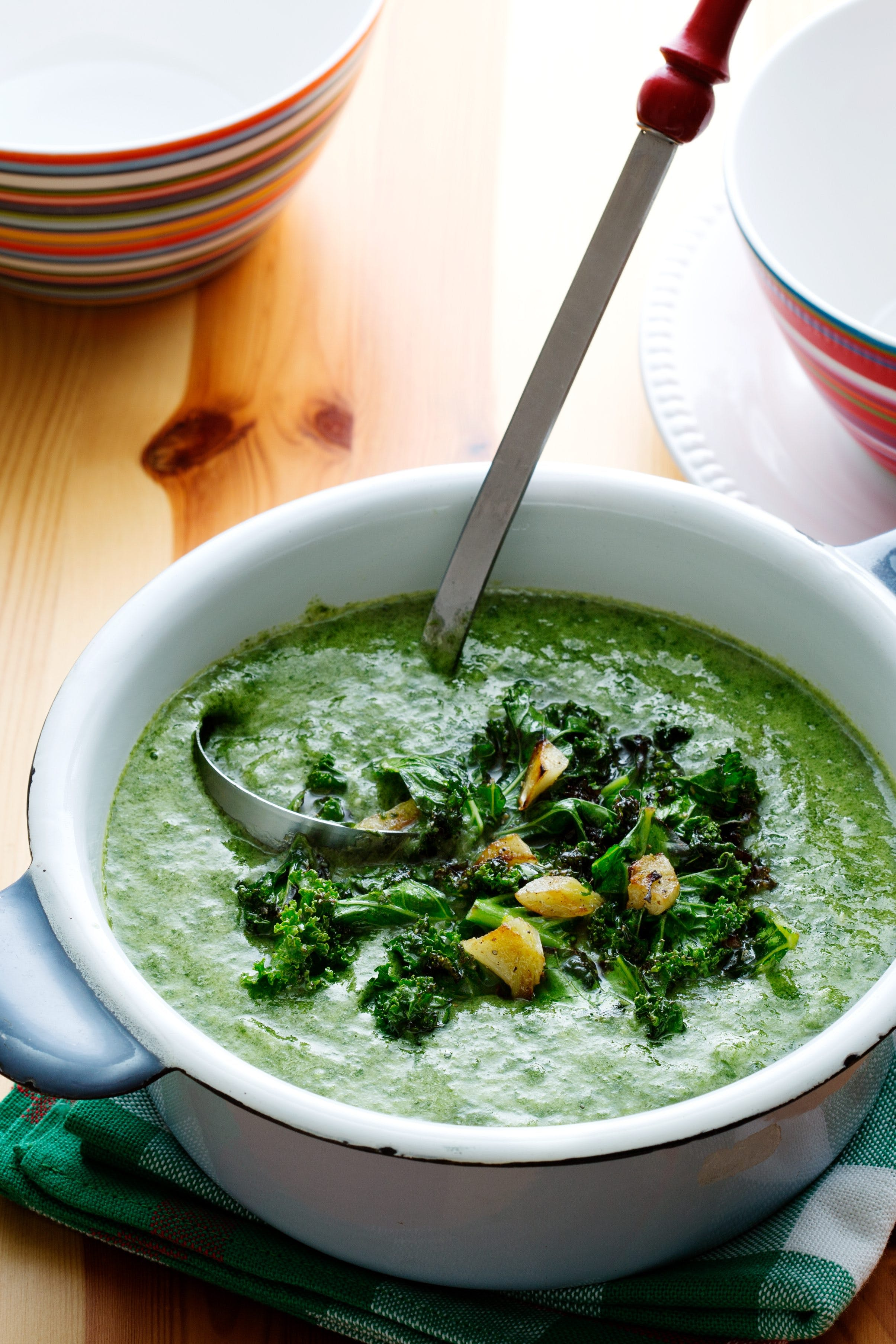 Vegan kale and spinach soup