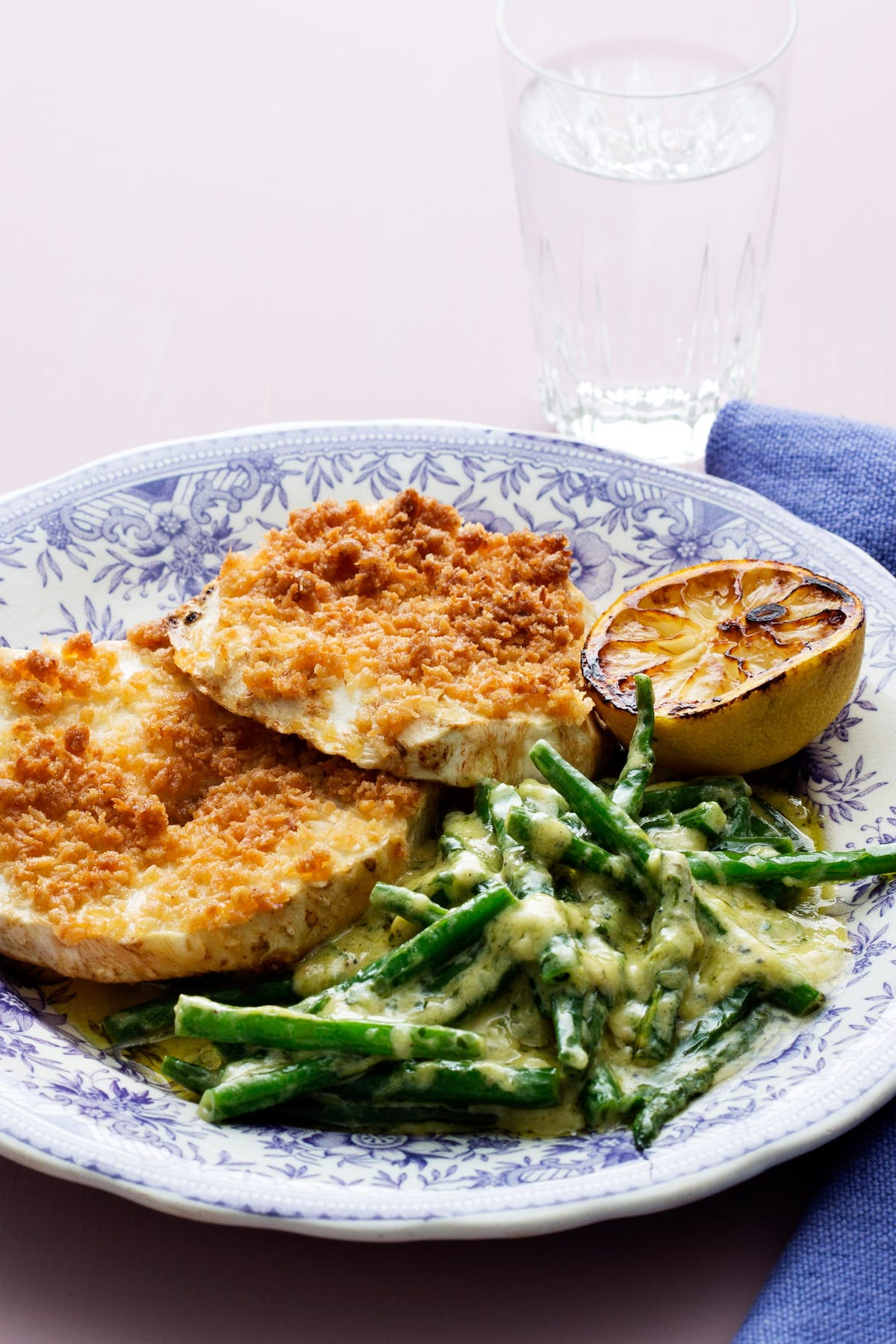 Breaded celery root with creamed garlic beans