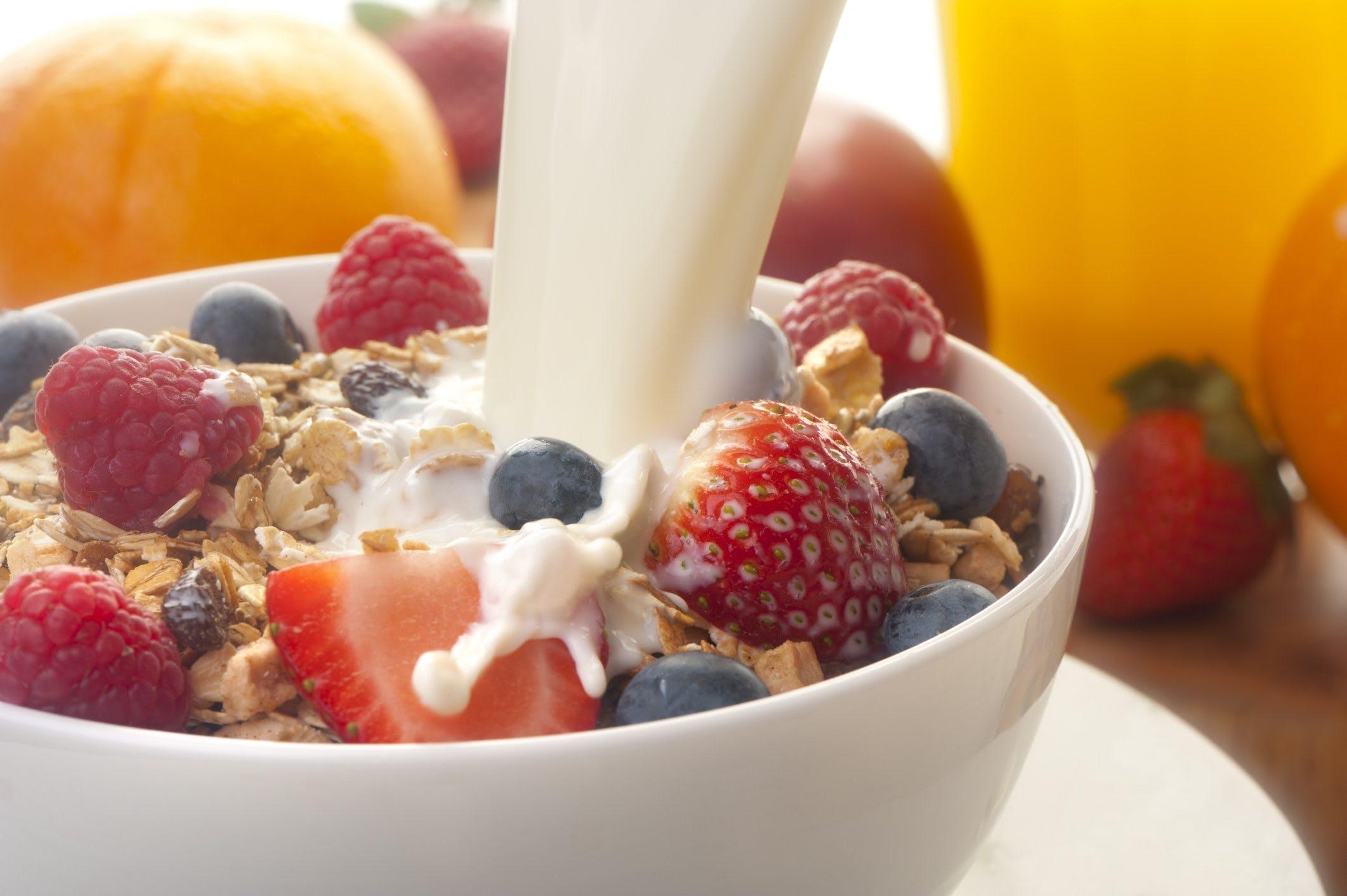 Typical DASH-diet foods: skim milk, grains and fruit