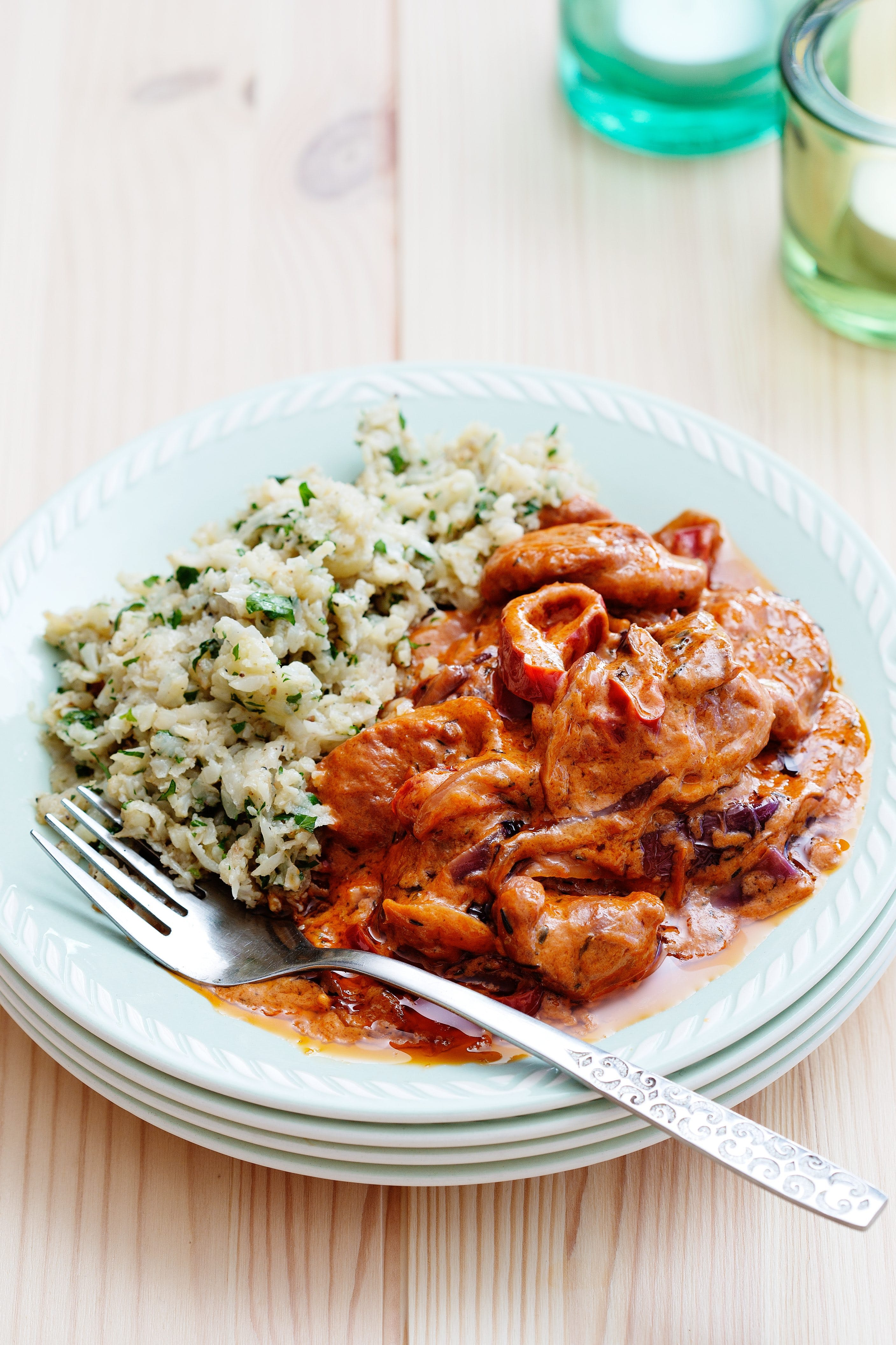Sausage stroganoff with cauliflower and parsley rice