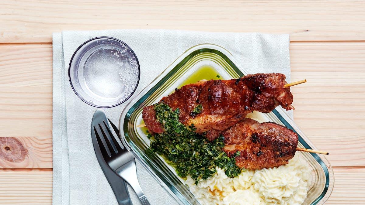 Keto pork skewers with mash and salsa verde