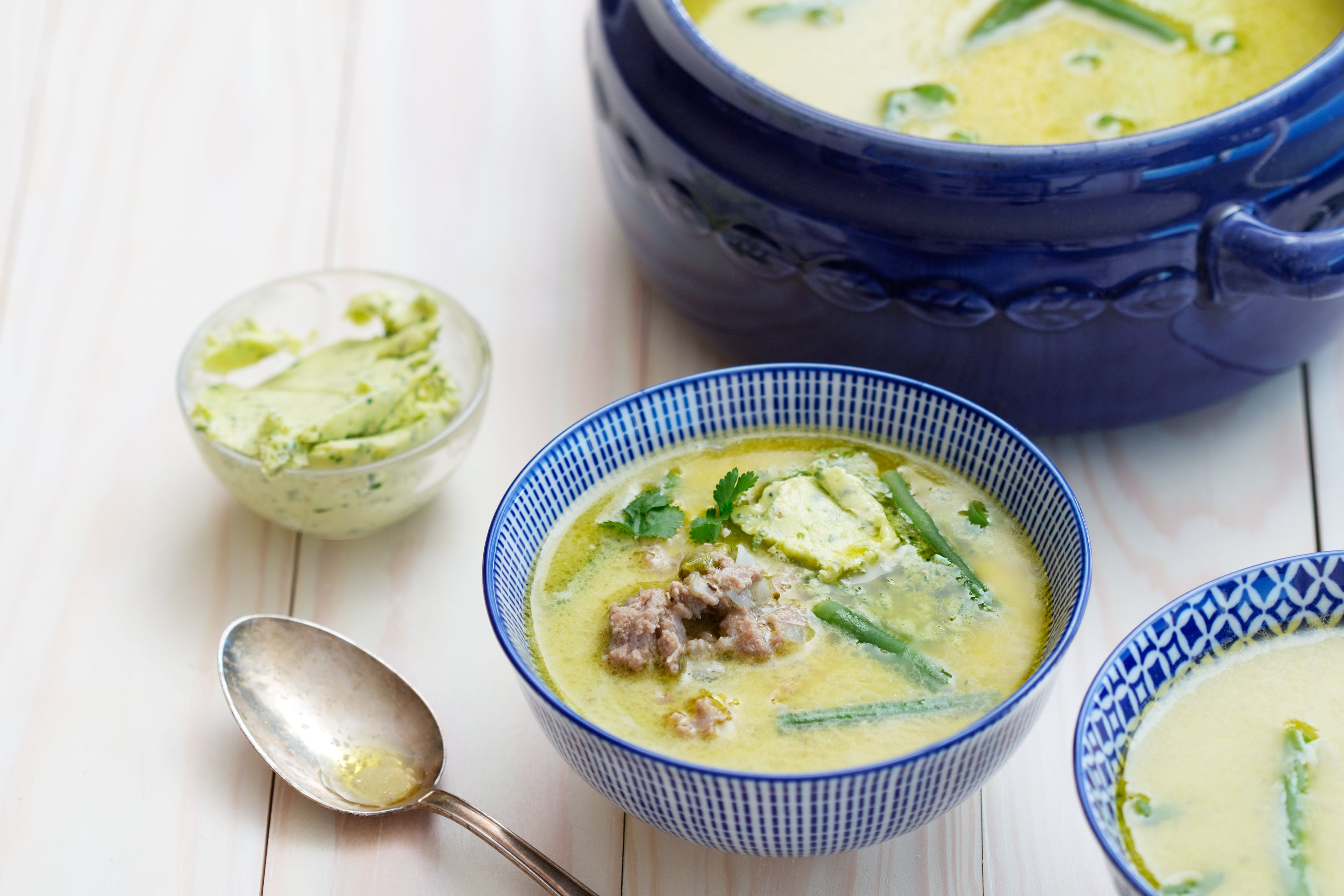 Low-carb turkey soup with cilantro butter