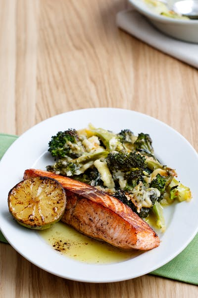 Keto fried salmon with broccoli and cheese<br />(Dinner)