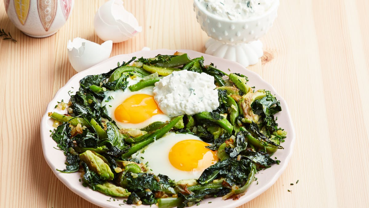 Skillet eggs and greens