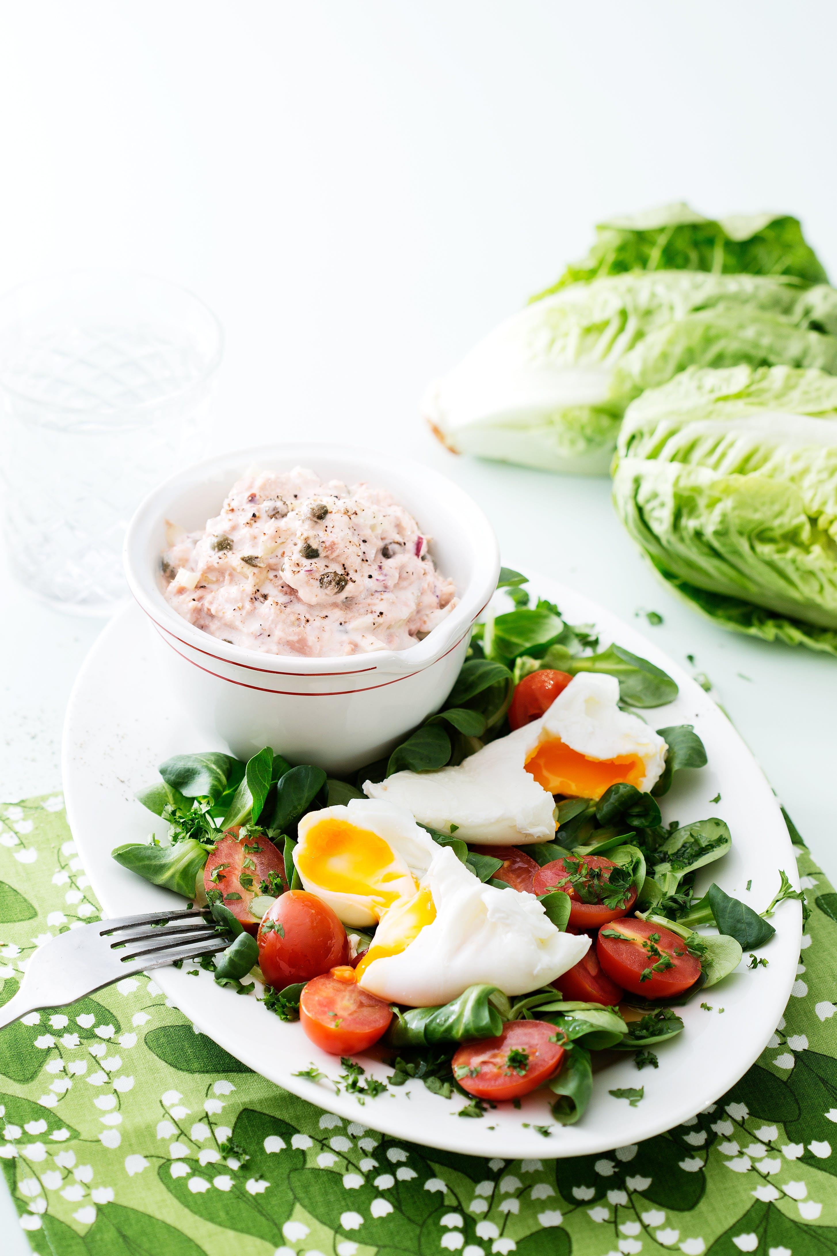 Keto tuna salad with poached eggs