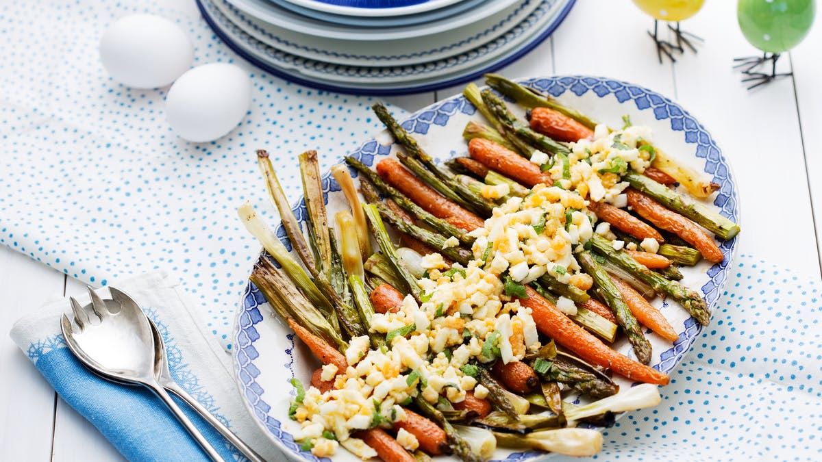 Roasted spring vegetables with eggs and browned butter
