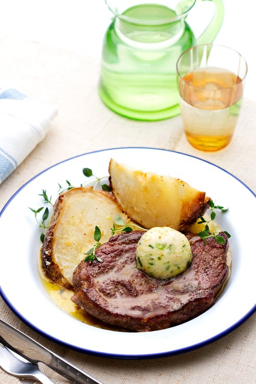 Pork chop with baked celery root