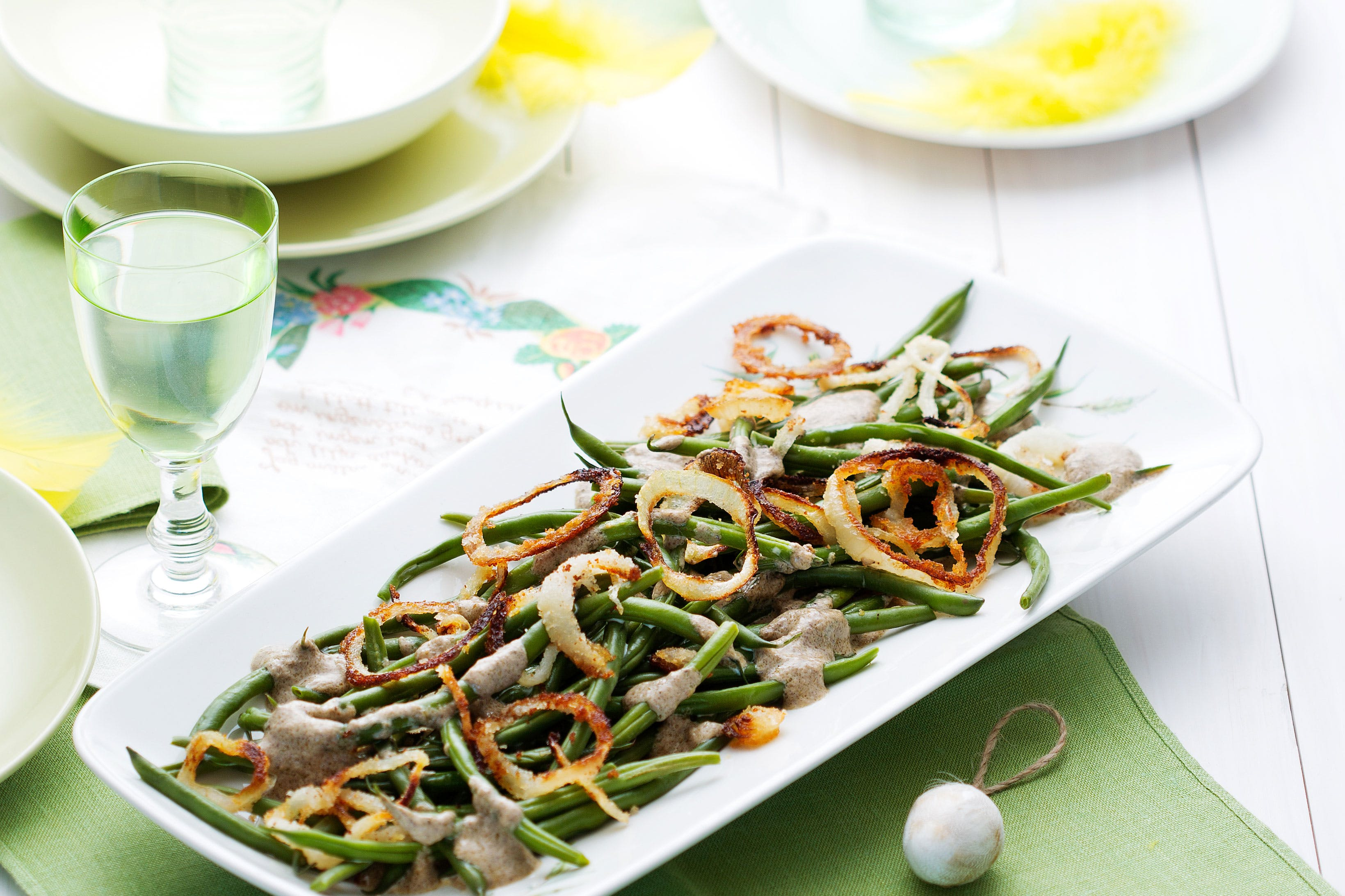 Green beans with roasted onions and cream of mushroom sauce
