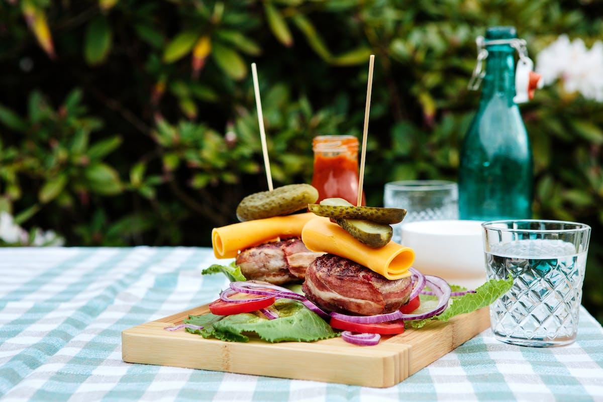 Bacon-wrapped keto burgers
