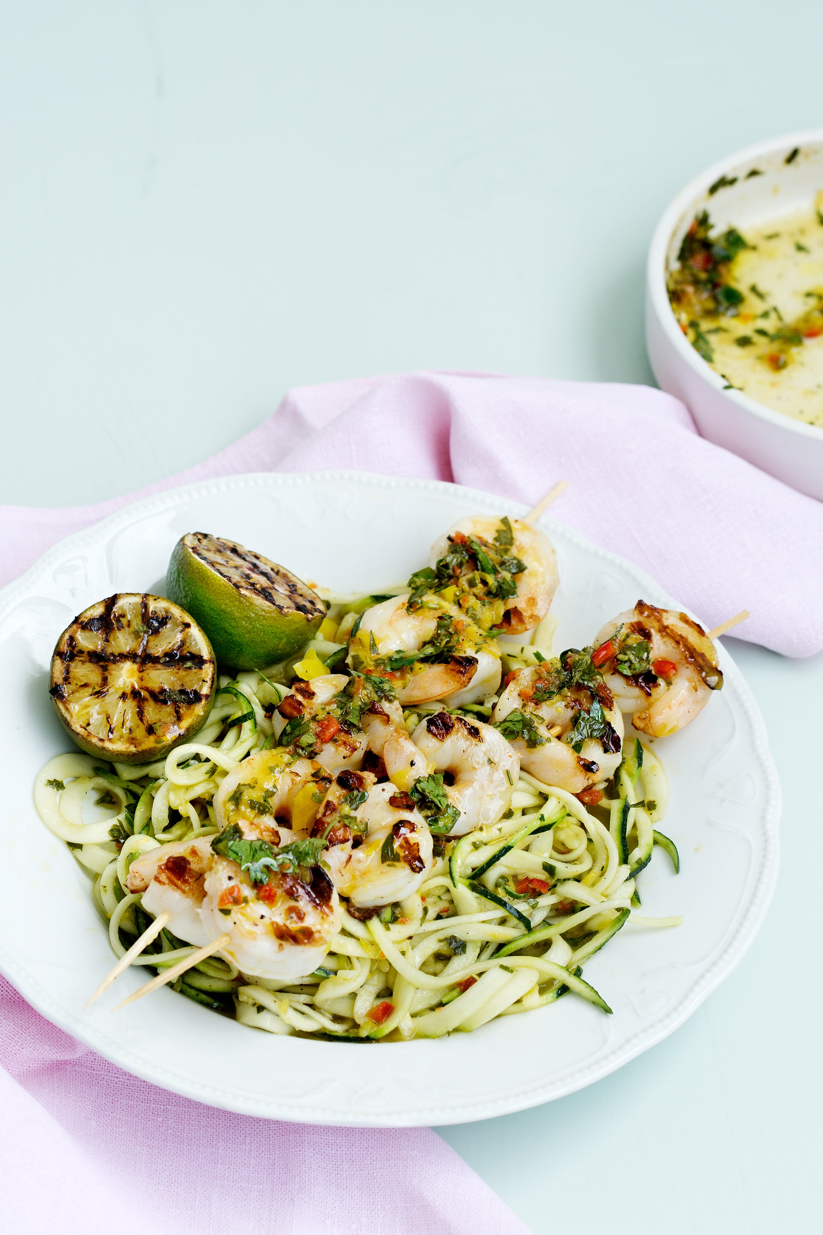 Low-carb grilled shrimp with chimichurri zoodles
