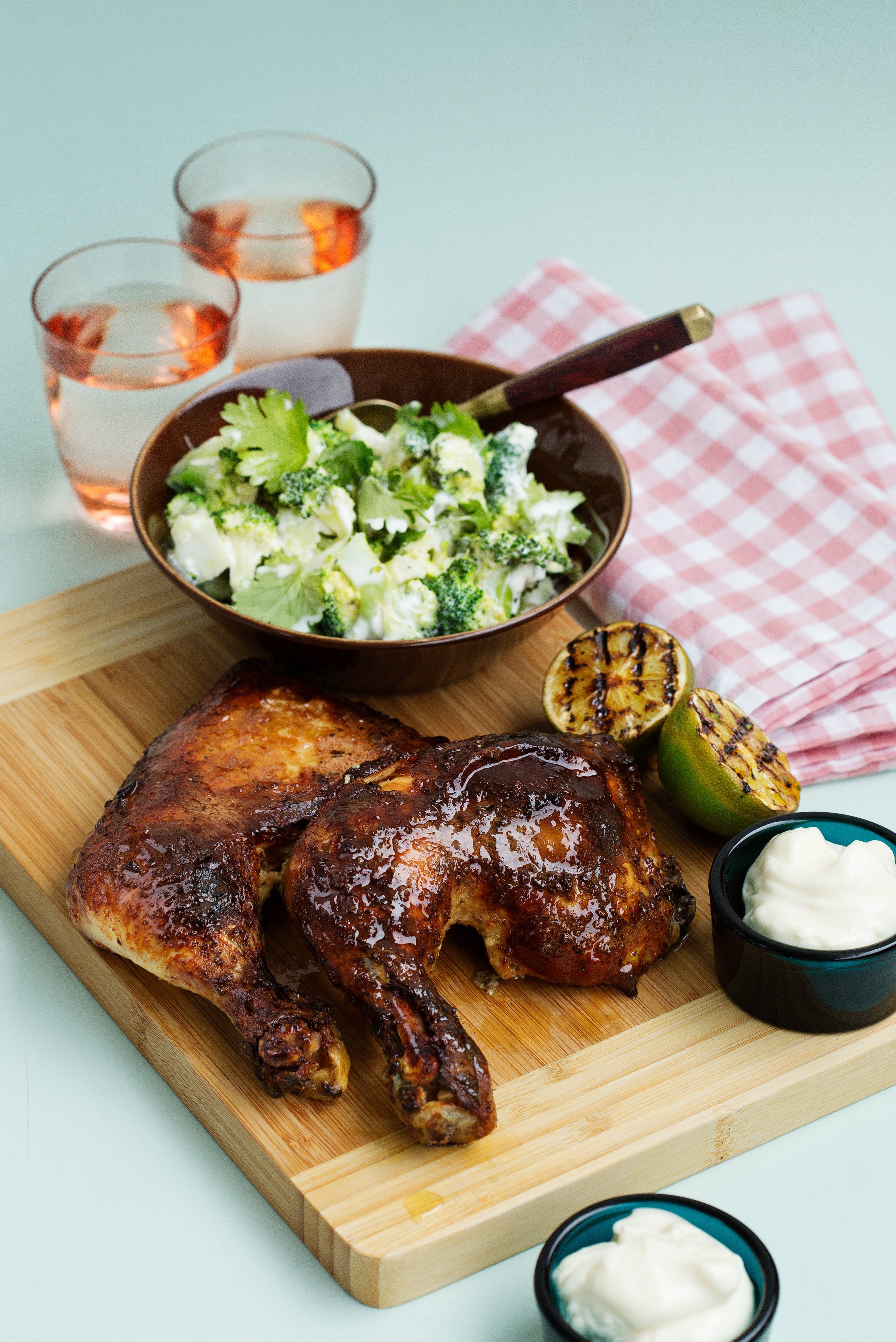 Slow-cooked chicken with broccoli salad