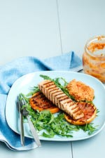 Grilled salmon and grapefruit