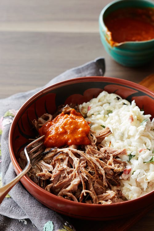 Pulled pork with turnip slaw