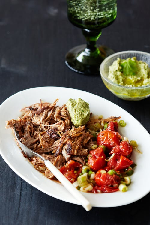 Keto pulled pork with roasted tomato salad