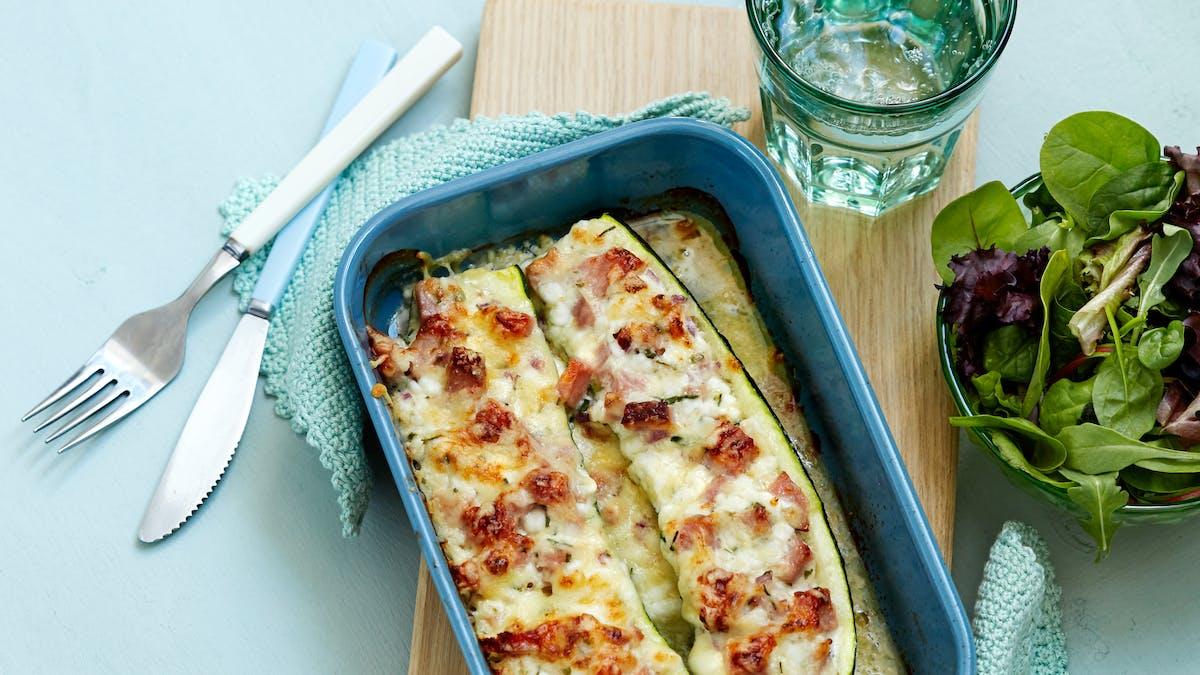 Smoked ham stuffed zucchini boats