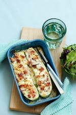Smoked ham stuffed zucchini boats