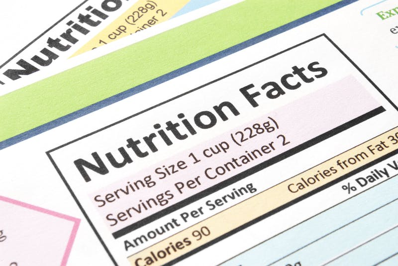 Close-up of the nutrition facts section