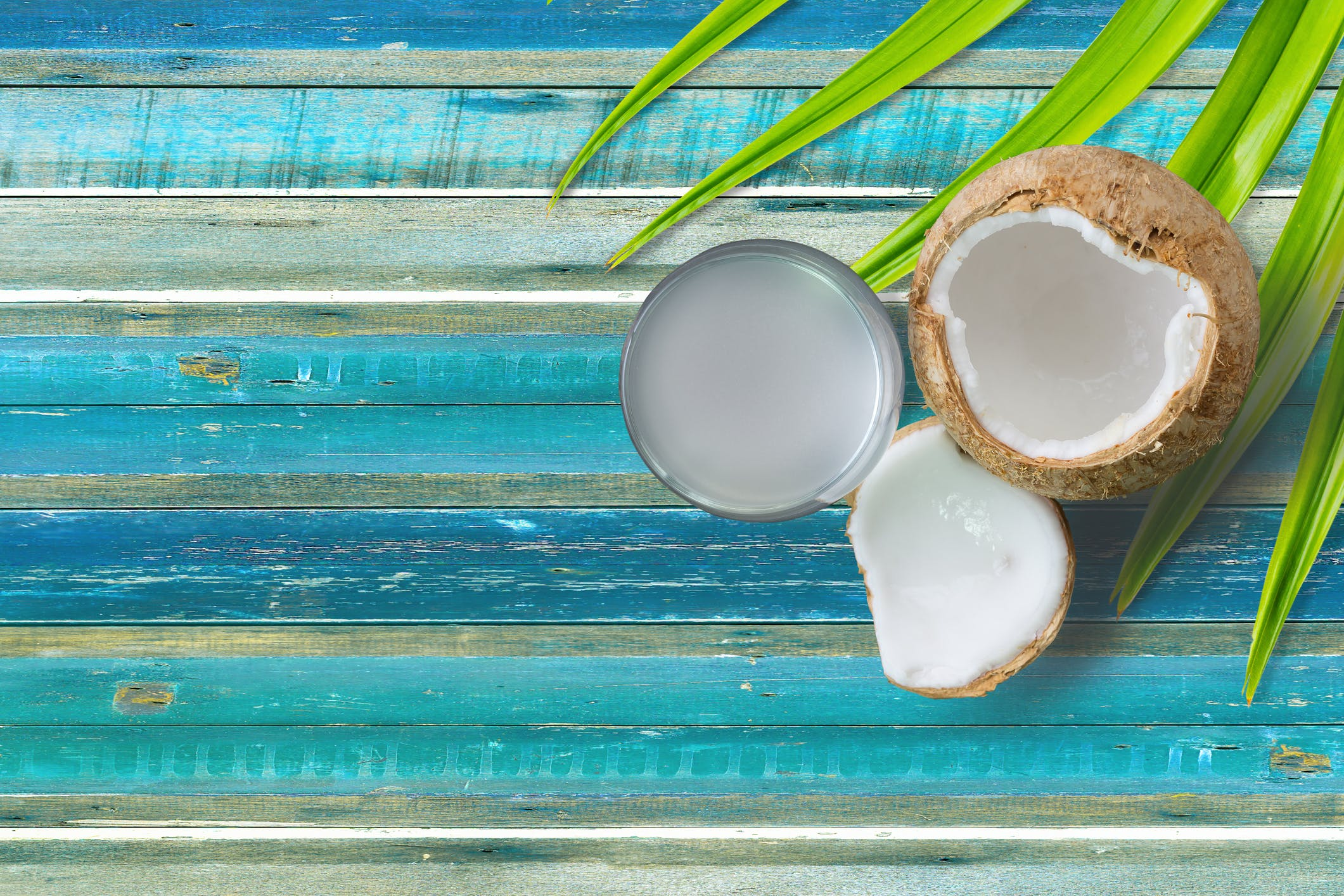 Coconut fresh water on vintage plank