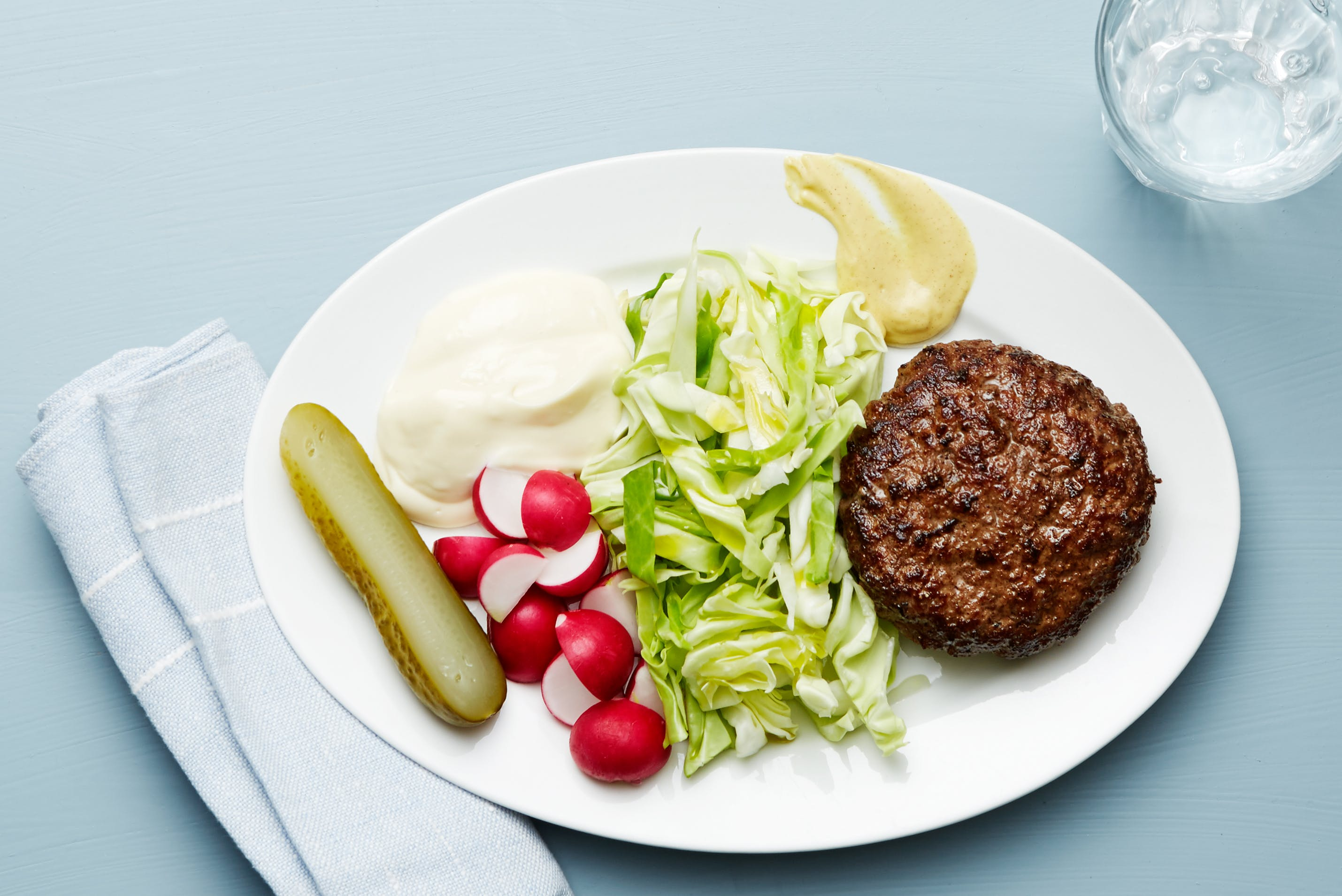 Keto burger and cabbage plate