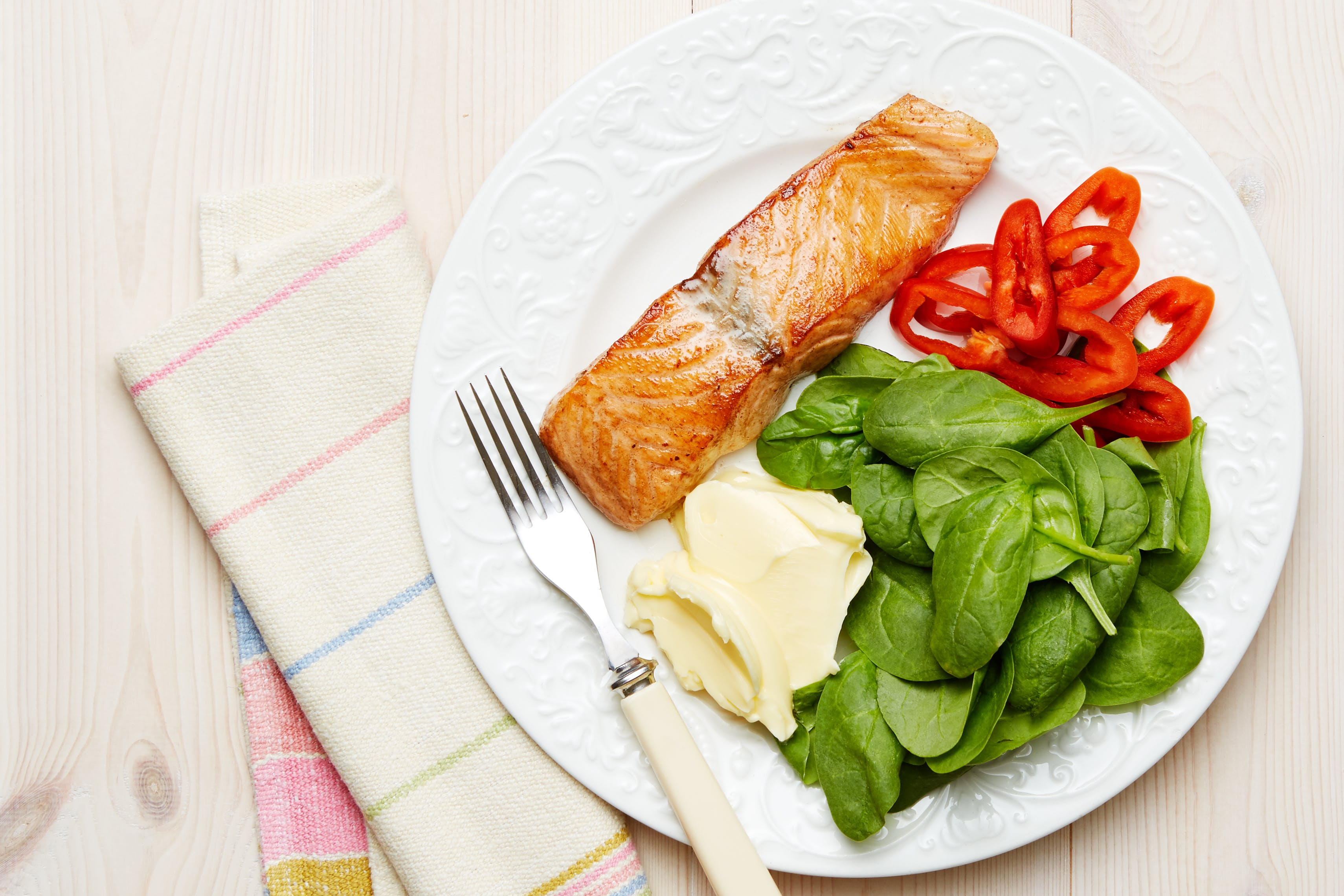 Keto salmon and spinach plate