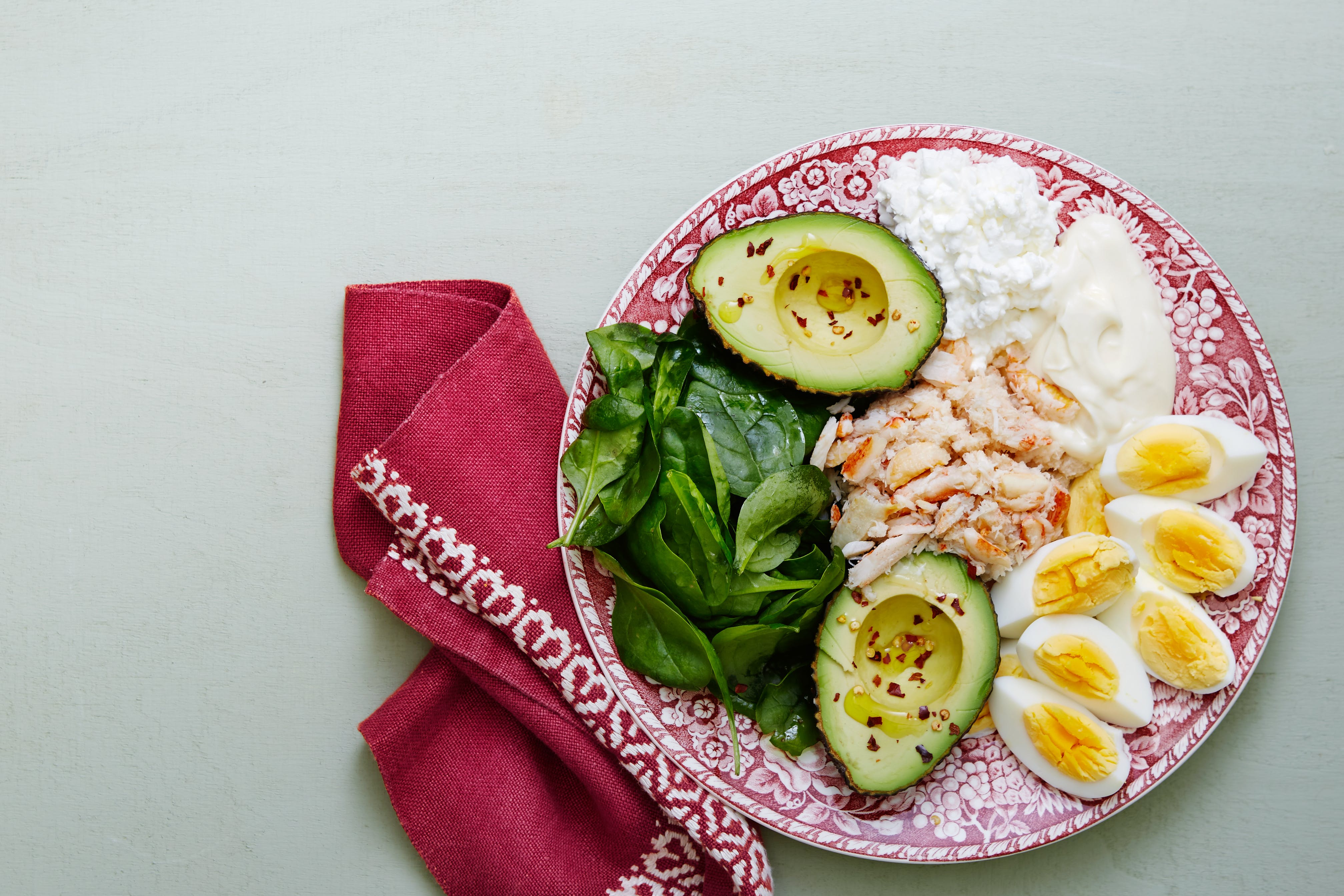 Keto crab meat and egg plate