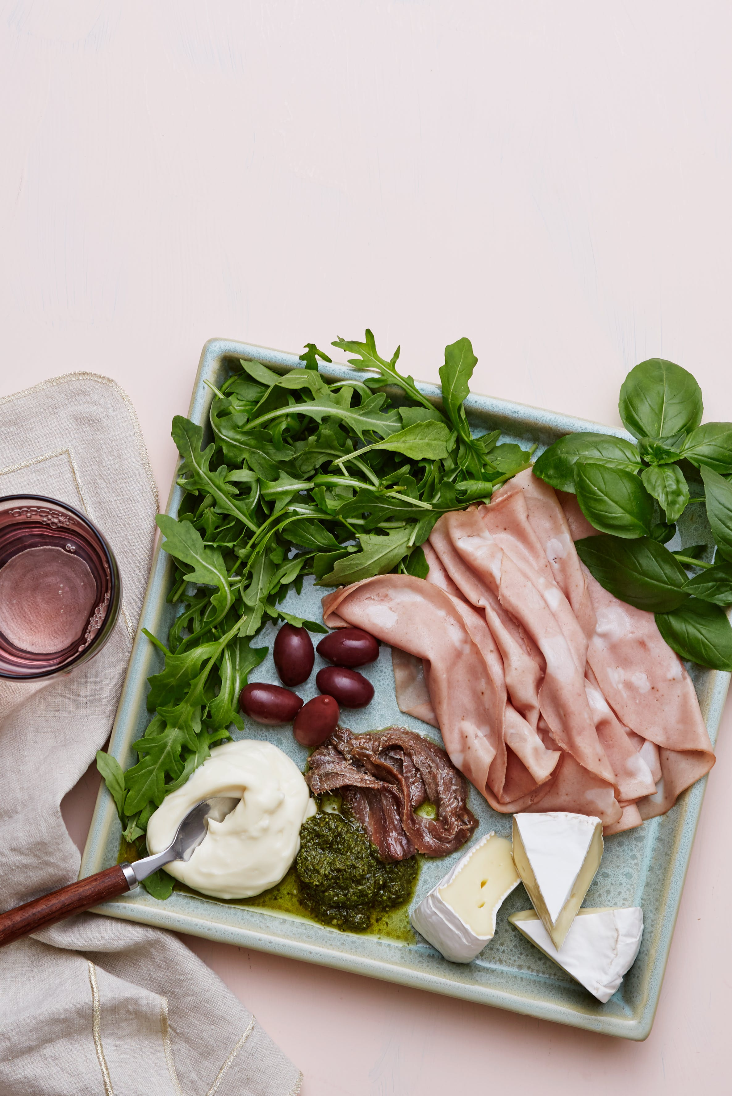 Keto mortadella and Brie plate
