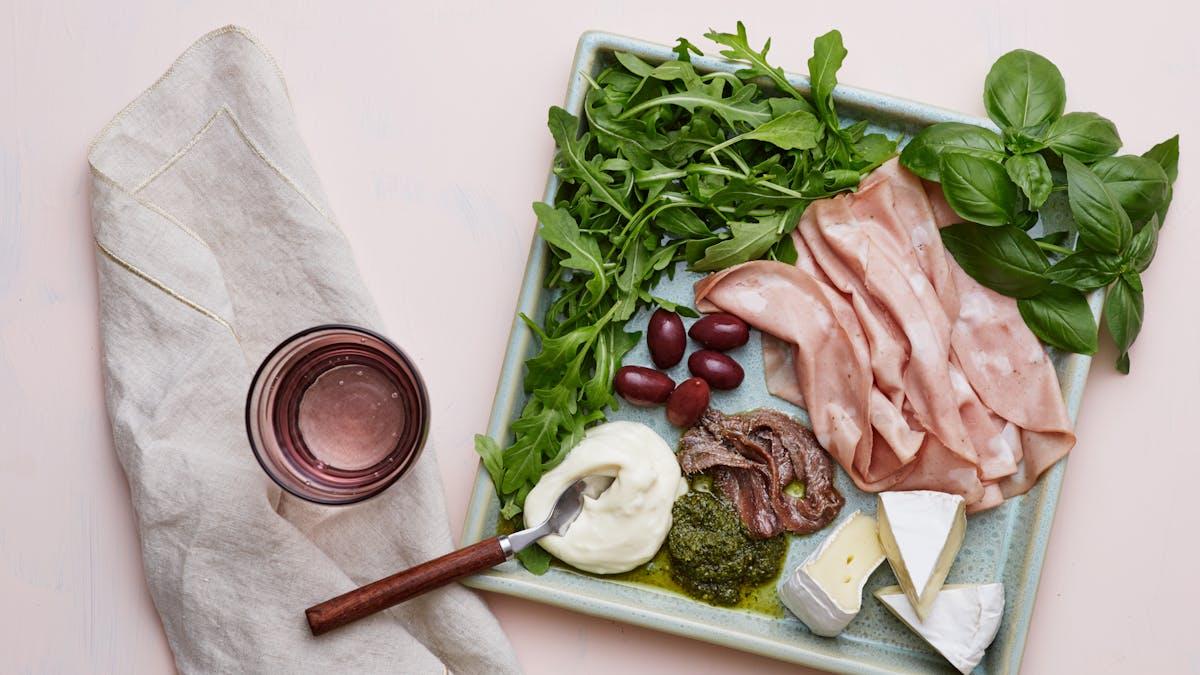 Keto mortadella and Brie plate