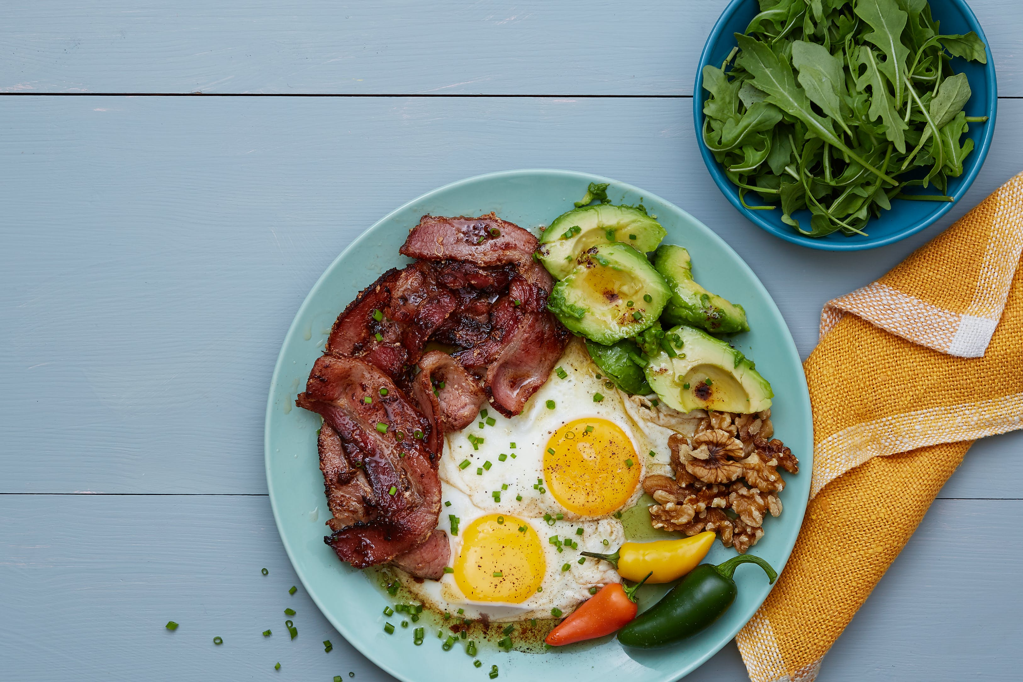 Keto bacon and eggs plate