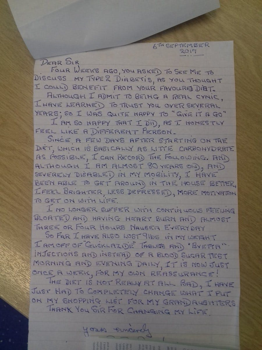 A thank-you letter from an elderly type 2 diabetic