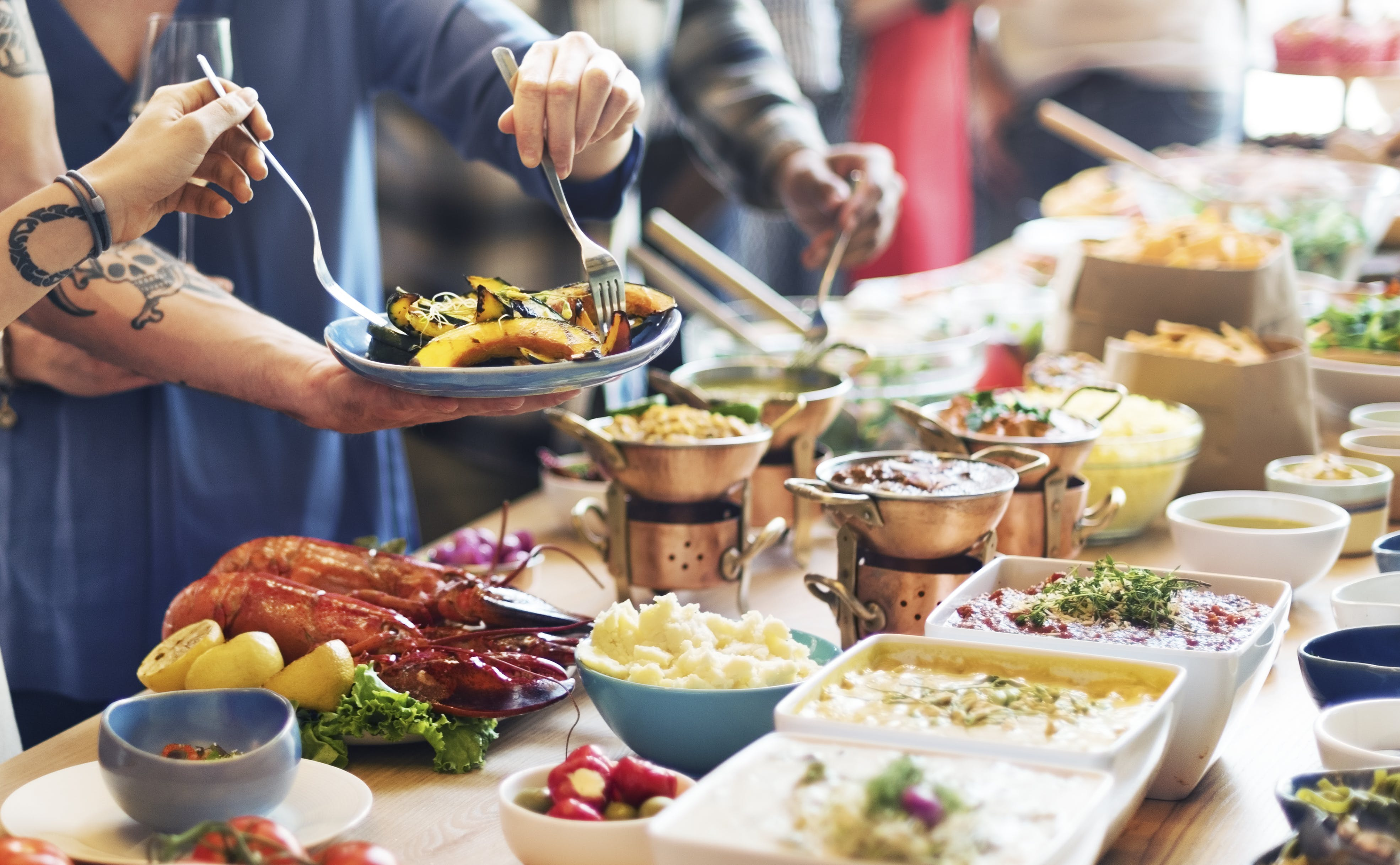 Catering Eating Companionship Buffet Festive Concept