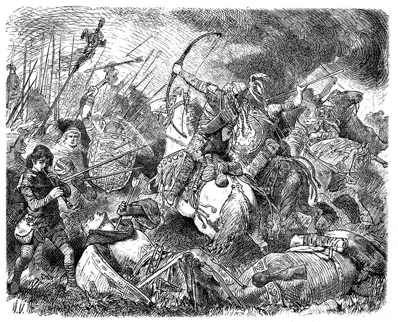 The Huns, under Attila, are defeated by the Visigoths and Romans, commanded by Aetius, at Chalons