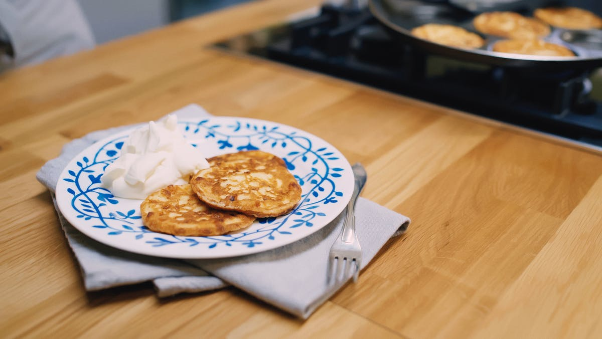 Keto pancakes with whipped cream