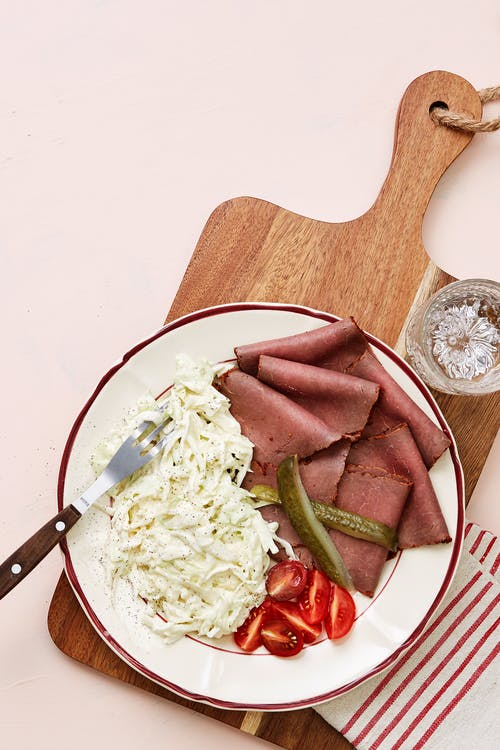 Keto deli roast beef with coleslaw