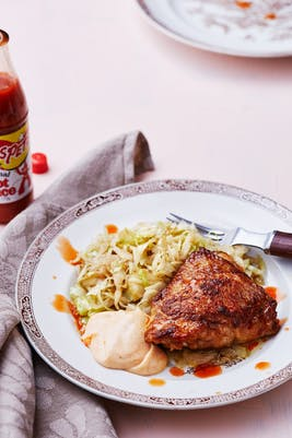 Keto Buffalo chicken with paprika mayo and butter-fried cabbage