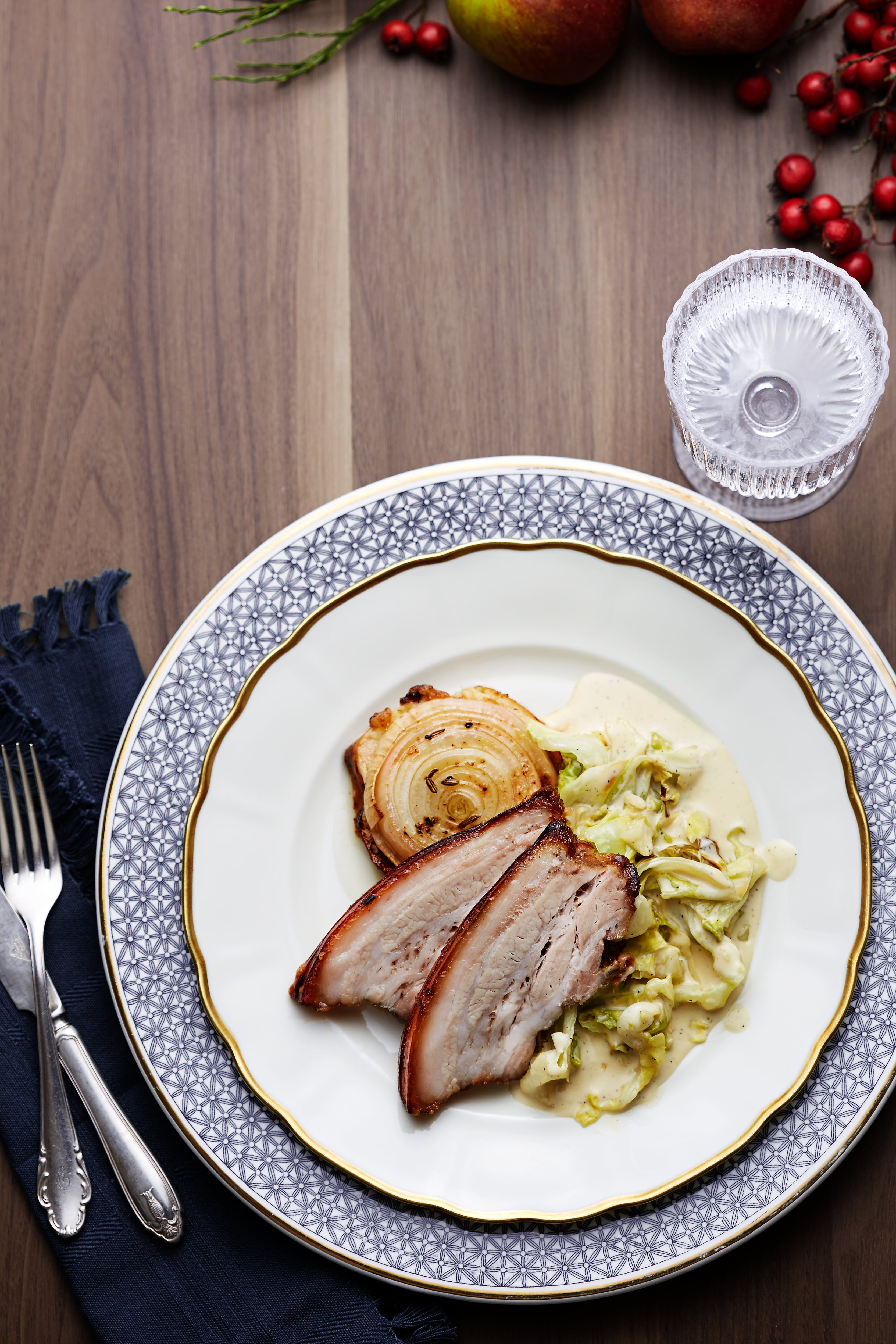 Roasted pork belly with creamed pointed cabbage