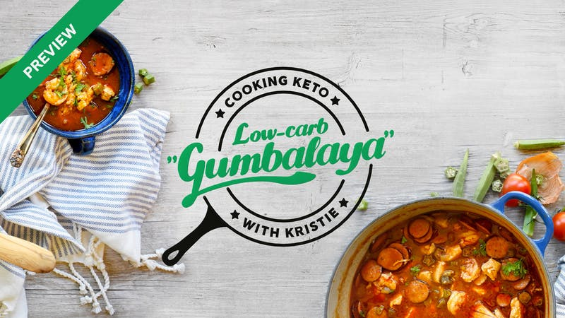 Cooking low-carb Gumbalaya with Kristie