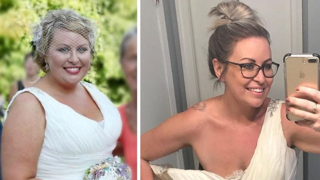 Woman tries on old wedding dress after dropping six sizes