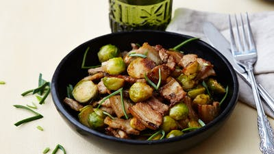 Keto Chinese pork with Brussels sprouts