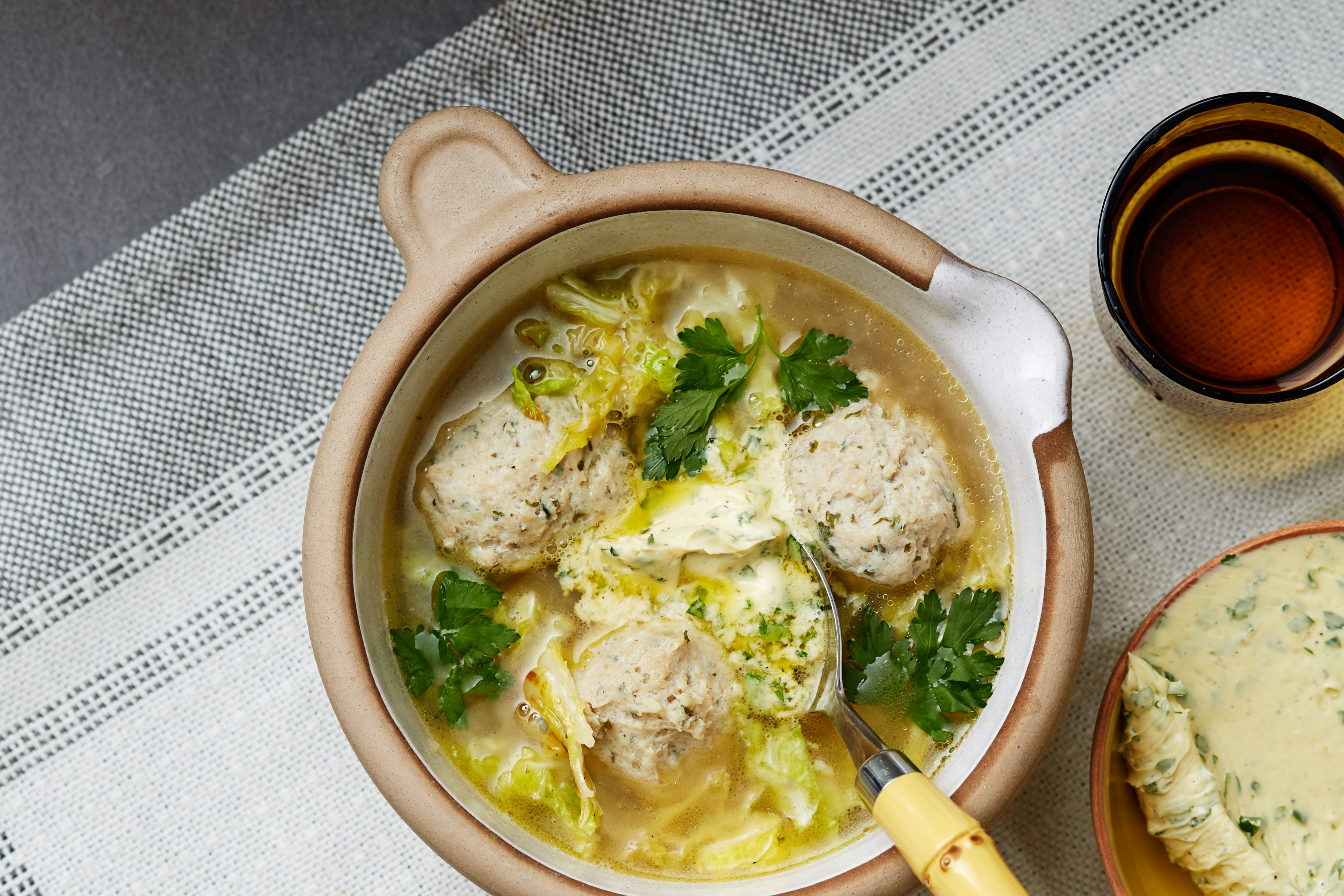 Keto cabbage soup with chicken quenelles