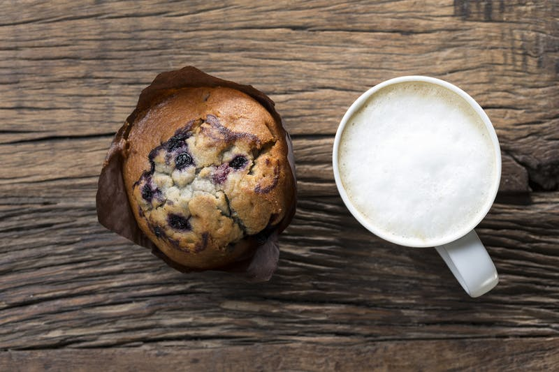 Chocolate Muffin and a Cappuccino coffee.