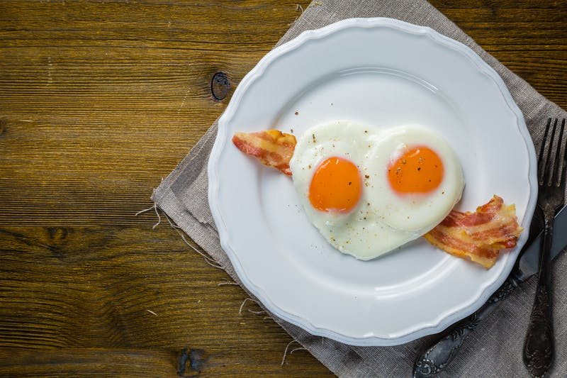 Valentine's day breakfast – eggs, bacon, ketchup