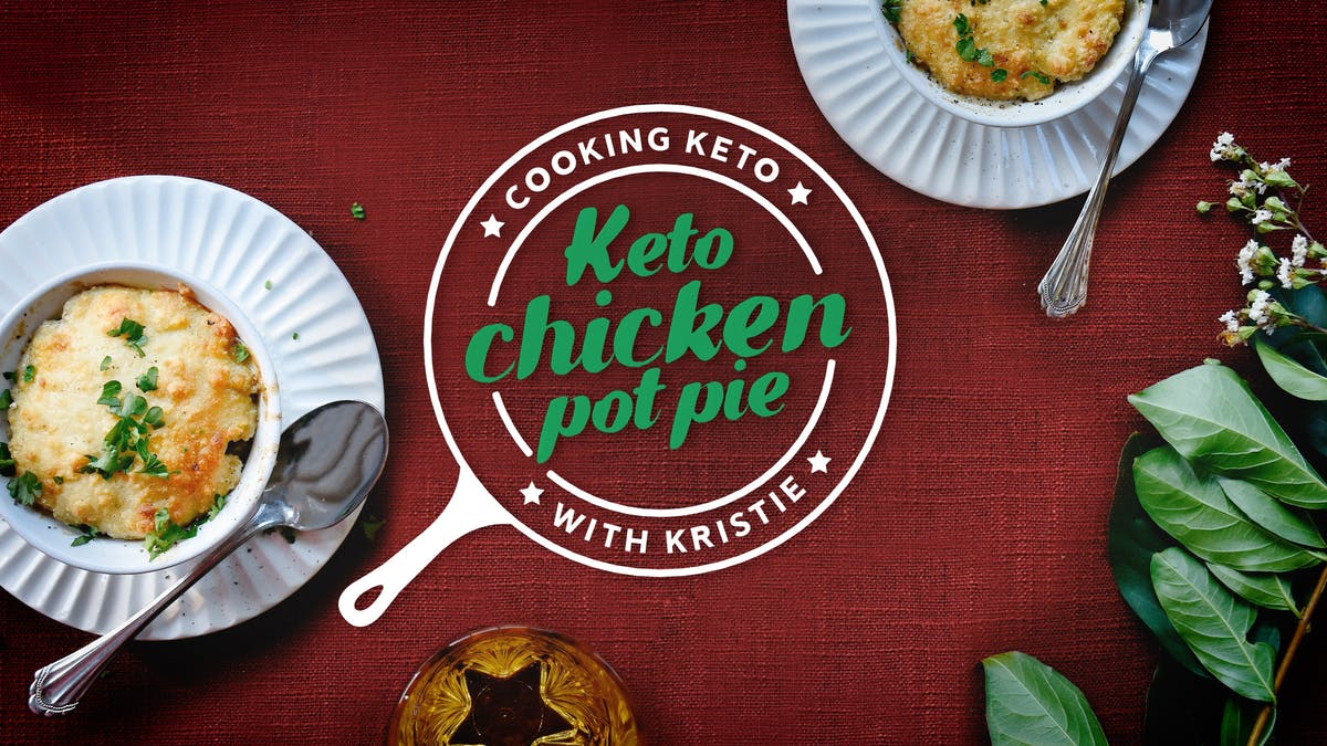 Cooking keto chicken pot pie with Kristie